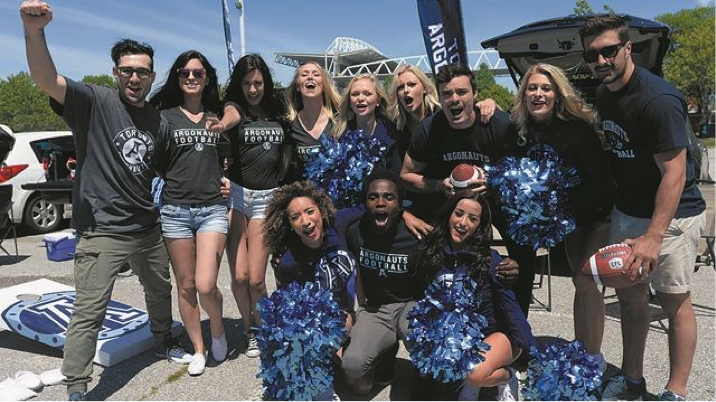 Toronto Argonaut fans with cheerleaders