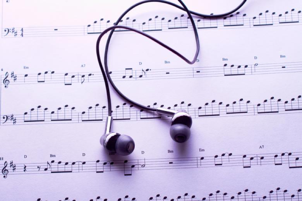 music notes and headphones