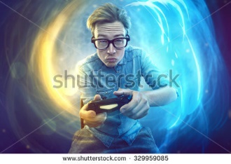 dude holding a playstation controller